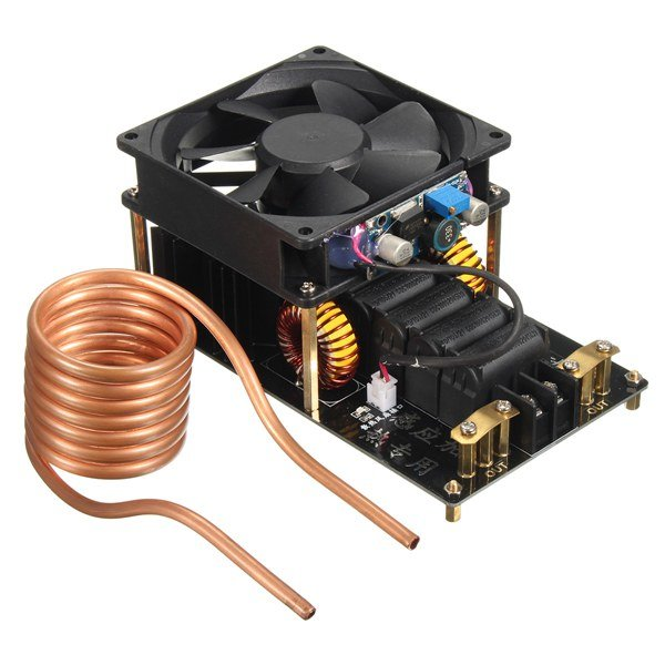 1000W 20A ZVS Induction Heating Machine Cooling Fan PCB Copper Tube 12-36V dc12 36v 20a 1000w zvs induction heating module heater with cooling fan copper tube