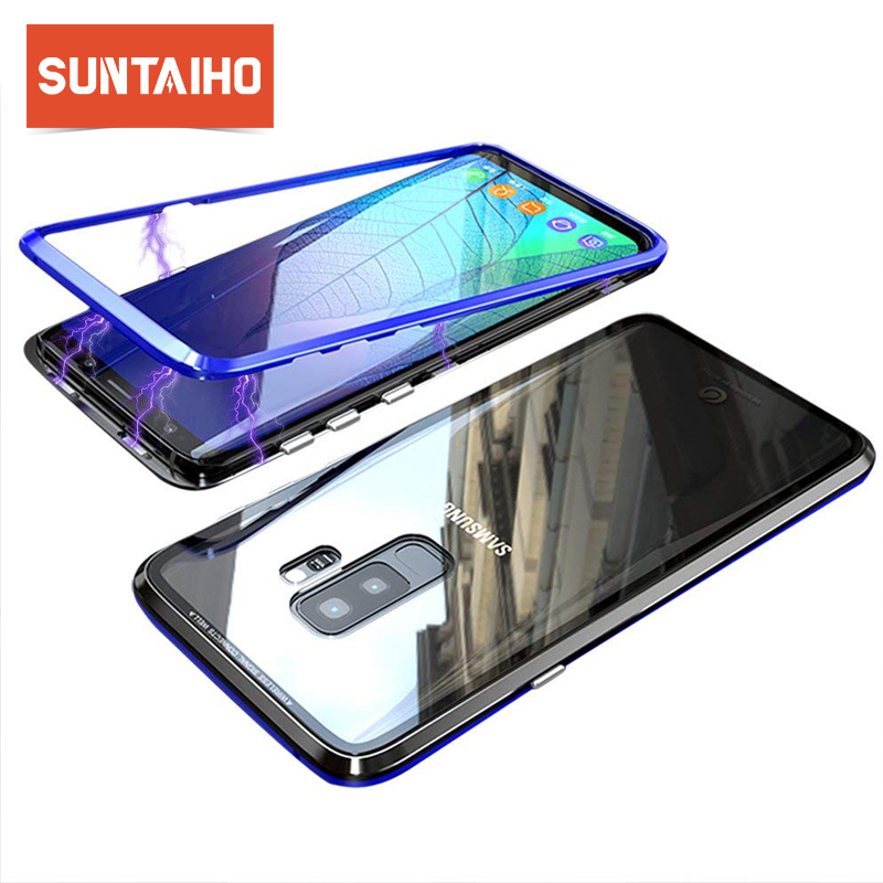 Suntaiho Ultra Magnetic Adsorption Phone Case For Samsung Galaxy S9 Case S8 S7 Note 8 Luxury Magnet Frame Back Glass Cover