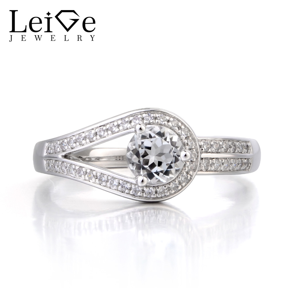 Leige Jewelry Real Natural White Topaz Ring Wedding Ring November Birthstone Round Cut Gemstone Solid 925 Sterling Silver Ring leige jewelry real natural white topaz ring wedding ring pear cut gemstone november birthstone solid 925 sterling silver ring
