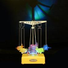 Plastic Plane Model LED Lighting Music Box Desktop Crafts Clockwork Hand Cranked Music Box Carousel Music Children Birthday Gift