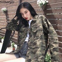 Kurtki kobiety kamuflaż skręcić w dół kołnierz pojedyncze piersi kieszenie europejski styl płaszcze damskie stracić BF Ulzzang studentów kurtka 5
