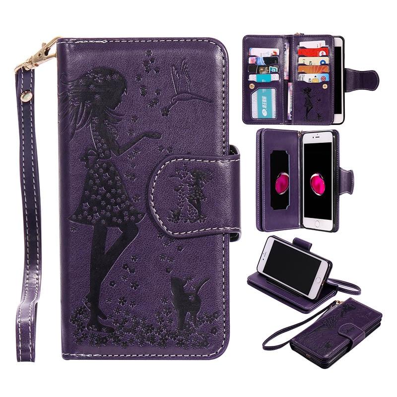 Магнитный 2 в 1 кожаный чехол для LG K7 K8 K10/x Мощность/Nexus 5x откидная крышка бумажник чехол 9 слотов для карт + фото Рамки + зеркало