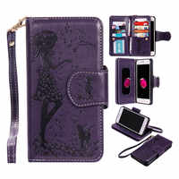Magnetic 2 in 1 Leather Case For LG K7 K8 K10 / X Power / Nexus 5X Flip Cover Wallet Case 9 Card Slots + Photo Frame + Mirror