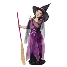 Girls Kids Black Purple Fly Witch Costume Cosplay Halloween Childrens Day Dress and Hat Cap Party Clothing for Children