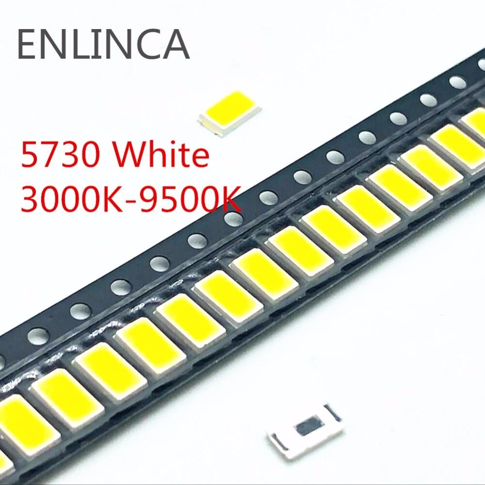 100 шт. 5730-CW WW 0,5 W-150Ma 50-55lm белый светильник 3000K 4000K 6000K 95000K SMD 5730 5630 Светодиодный 5730 диоды для подавления переходных скачков напряжения 3,2-3,4 V
