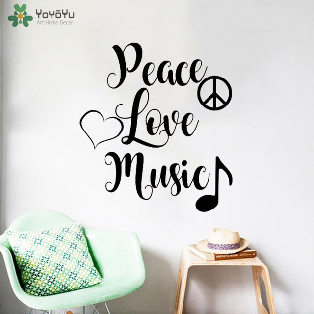 YOYOYU Wall Decal Peace Love Music Quote Wall Stickers For Bedroom Inspiration Quote About Peace And Love