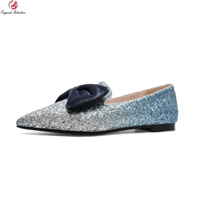 16d68dbc4f6 US $47.55 18% OFF|Original Intention New Gorgeous Women Flats Glitter  Pointed Toe Flat Shoes Black Blue White Silver Shoes Woman US Size 4  10.5-in ...