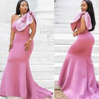 Plus Size Mermaid Evening Dresses Bow abiye Long Evening Gowns Satin Custom Made Bridal Guest Dress Strapless robe de soiree
