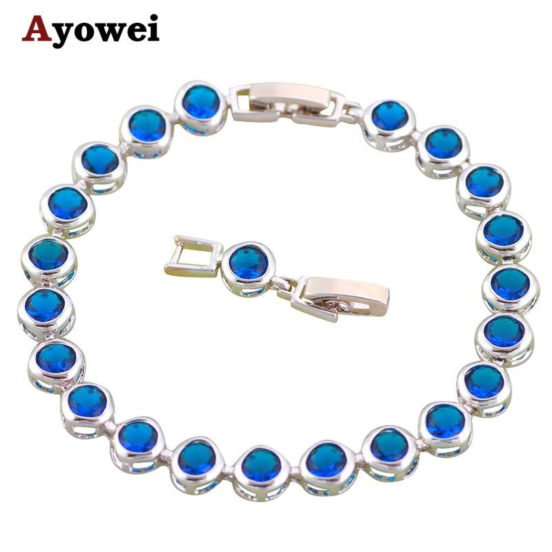 413ce0642efa3 Simples Rodada Profundo projeto Popular Charme Pulseiras de Prata para as  mulheres cheio de Cristal Azul inlay moda jóias TB645A