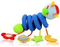Candice guo! la más nueva llegada del juguete del bebé azul lindo estilo abeja cama de felpa círculo cama redonda con dispositivo BB espejo de seguridad 1 unid