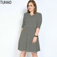 TUHAO 2019 Spring Summer Office Lady Dress Casual Plus Size Loose Dresses 7XL 6XL 5XL Elegant Female Vestidos Plus Size DRESS RL