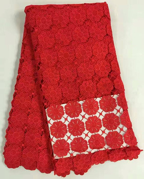 Gorgeous mesh cord lace flower french guipure lace fabric red embroidery african water soluble lace for party dressing RW7-1