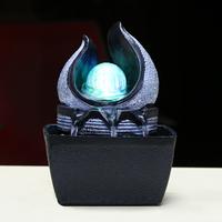 110 240V Brief Resin Water Flowing Cycle Fountain Office LED Light Desktop Feng Shui Lucky Living Room Home Decor Creative Gift