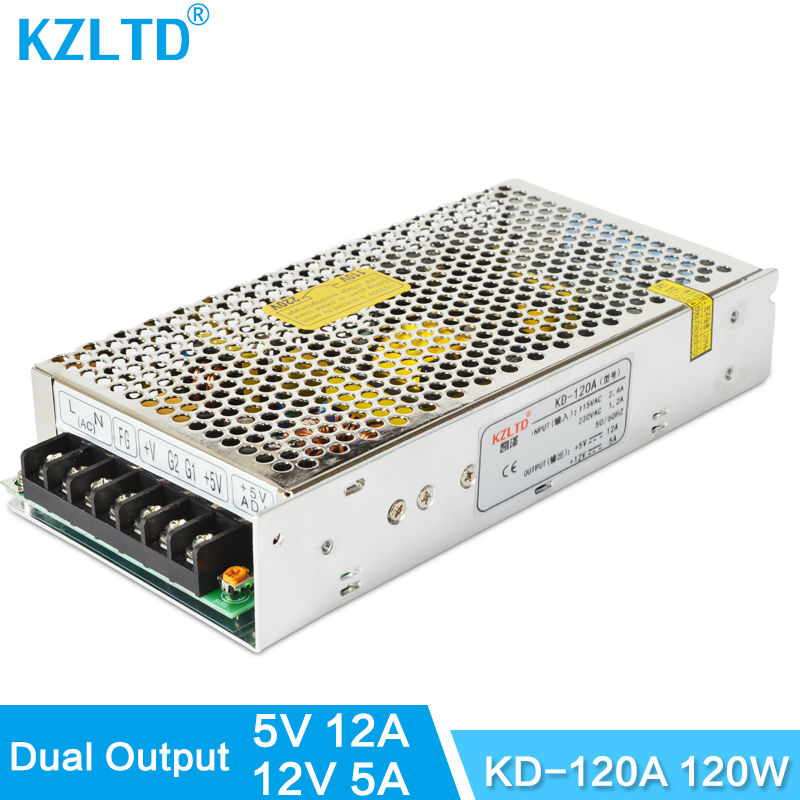 120W 12V 5V Power Supply Dual Output AC-DC 220V to 5V Power Adapter Adjustable Power Source for LED Light Scanner CCTV Camera dc 12v 5a ac adapter cctv power supply adapter box 1 to 8 port for the cctv surveillance camera system abs plastic