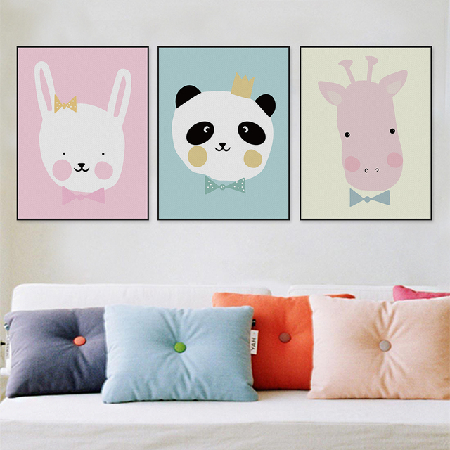 Kawaii Animals Lion Canvas Poster Print Cartoon Nursery Wall Art Picture Kids Baby Room Decor