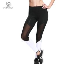 OVESPORT Mesh Yoga Pants Women Fitness Gym Sports Leggings Elastic Breathable Patchwork Running Workout Leggins For