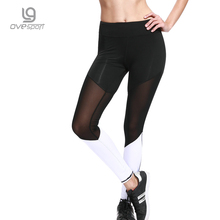 OVESPORT Mesh Yoga Pants Women Fitness Gym Sports Leggings Elastic Breathable Patchwork Running Workout Leggins For Female Pants