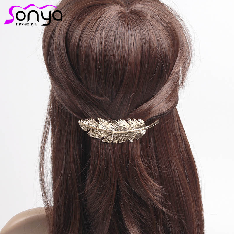MWsonya Women Fashion Hairpins Metal Leaf Shape Hair Clip Barrettes Lady Barrette Hair Accessories 4H4022