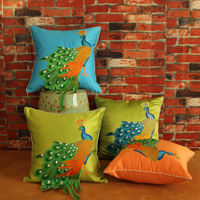 New Chinese Peacock Cushion Cover Cushion Covers Handmade Sewing Embroidery Beauty Home Sofa Bed Room Dec
