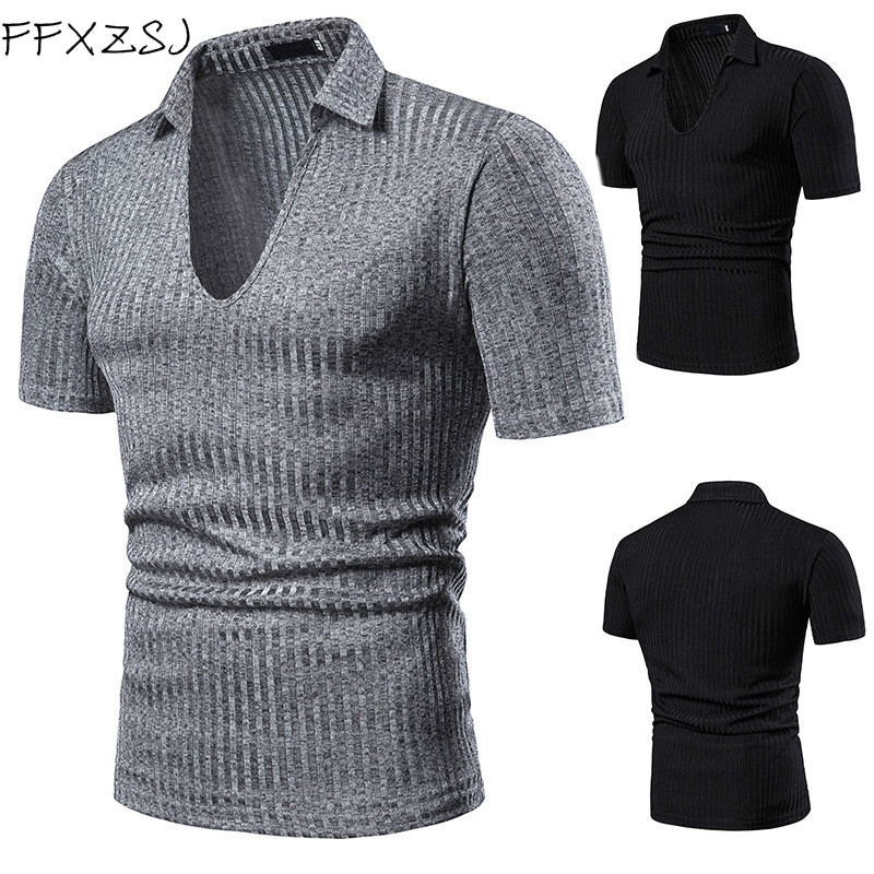 FFXZSJ Brand 2019 Men's POLO shirts with lapels Short  England Style  Solid  Slim  Breathable  polo shirt European size s-2xl