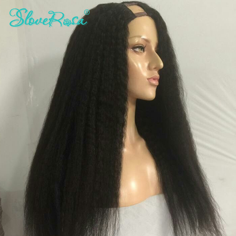 bdbbef4248b Kinky Straight U Part Wig Human Hair Wigs For Women Brazilian Remy Hair  Full End Natural Color With Adjustable Strap Slove Rosa