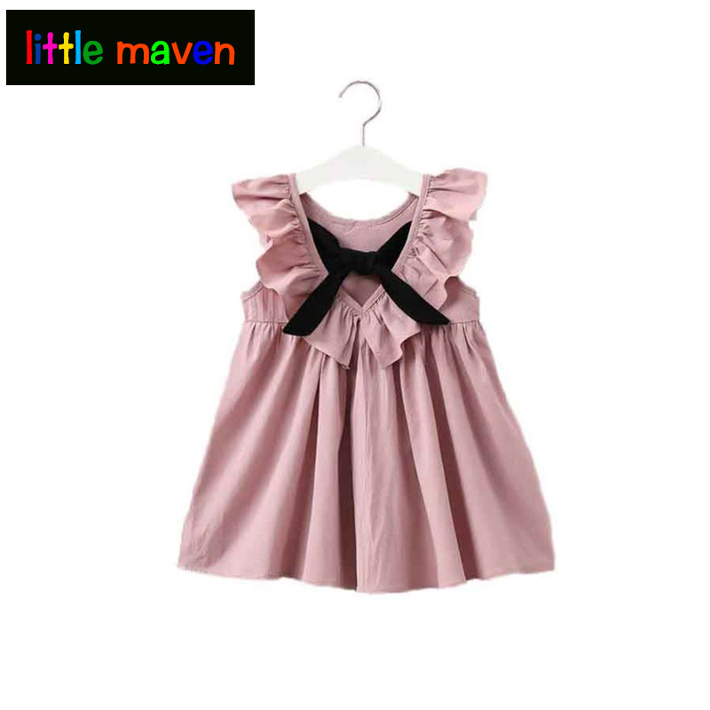 2018 Pink Baby Girl Dress Ruffle Collar Children Clothes Backless Kids Clothes Summer Girls Dress with Bow Cute Toddler Dress