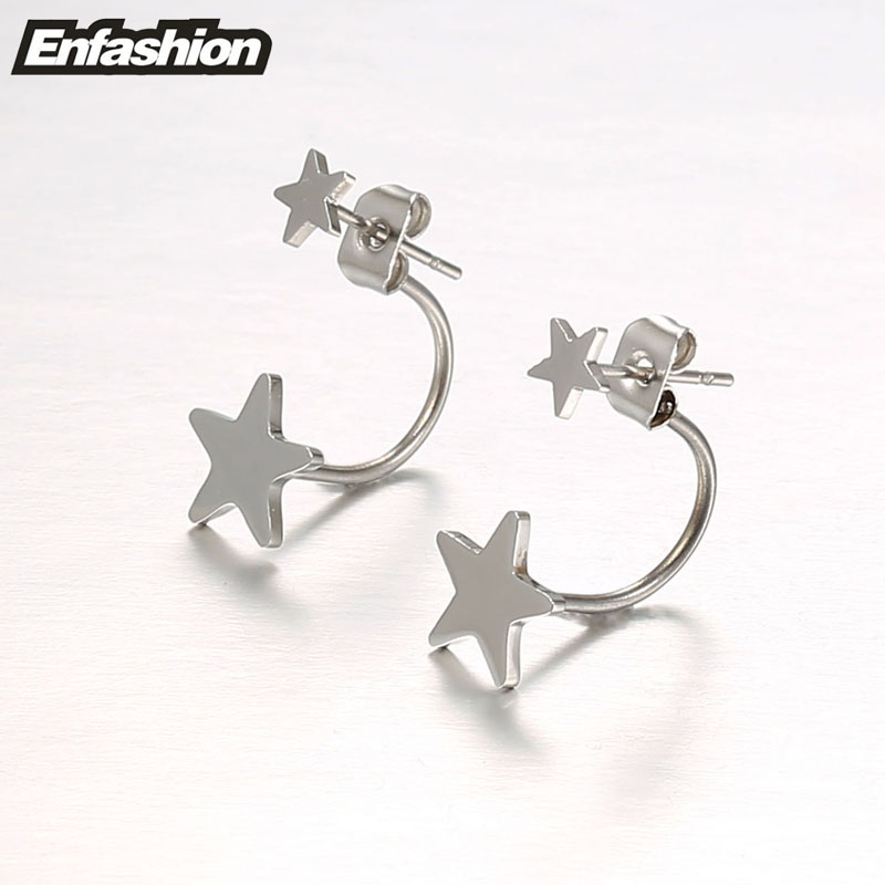 Enfashion Schmuck Doppel Stern Ohrringe Schwarz Ohrstecker Rose Gold - Modeschmuck - Foto 4