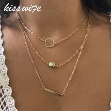 KISSWIFE 2018 di Nuovo Modo Selvaggio Apertura Barre di Metallo Collana In Oro ColorLayered Collana Per Le Donne di Fascino del Regalo
