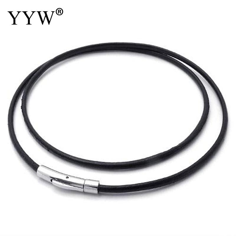 SALE Gold Over Sterling Silver 3mm Black Round Genuine Leather Cord Necklace