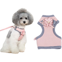 Flower Small Pet Cat Dog Harness Vest And Leash Breathable Chihuahua Dog Puppy Bow Tie Collar