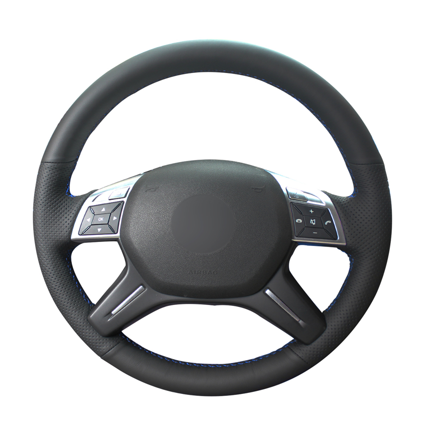 Hand-stitched Black PU Artificial Leather Car Steering Wheel Cover for Mercedes Benz E-Class E300 2014 GL-Class GL 350 400 500 image
