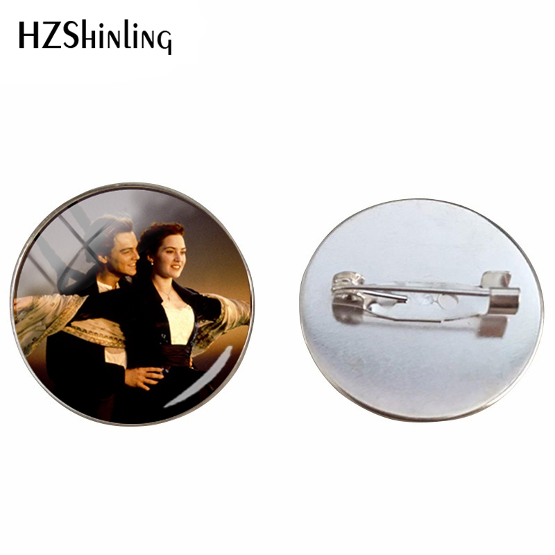New Arrival Romantic Love Movie Titanic Design Art Glass Dome Brooch You Jump , I Jump Jack and Rose Film Jewelry Pins Gifts image
