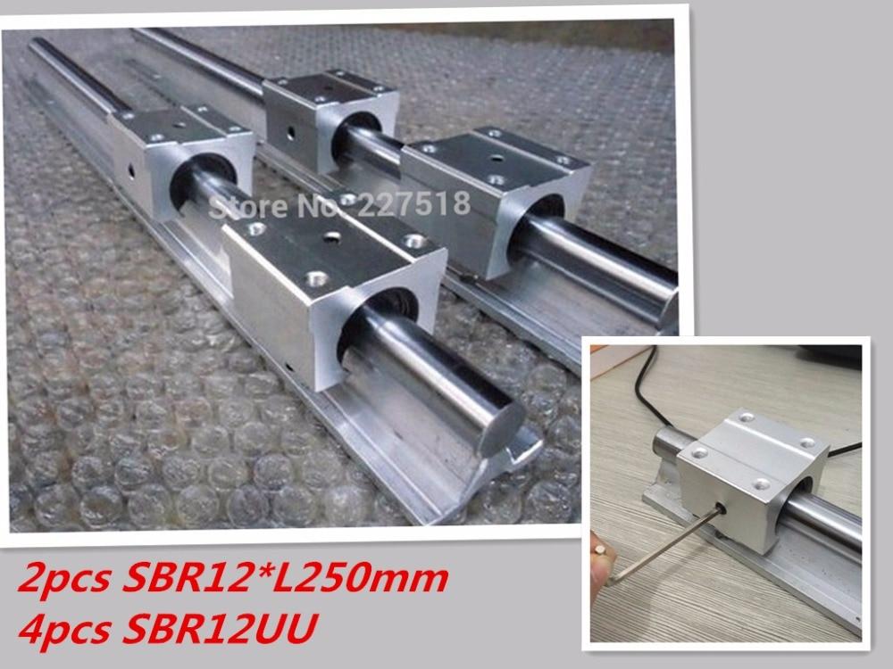 12mm linear rail SBR12 250mm 2 pcs and 4 pcs SBR12UU linear bearing blocks for cnc parts 12mm linear guide 2pcs sbr12 250mm linear rail 12mm cnc linear guide 4pcs sbr12uu linear bearing blocks slide for cnc parts