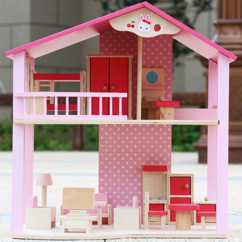 Enfants maison de poupée en bois semblant jouet/enfants Villa de poupée en bois avec des meubles miniatures et des marionnettes cadeau d'anniversaire