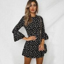hot deal buy 2018hot and american chic elegant polka dot mini woman dresses spring and summer flare sleeve polka dot chiffon dresses