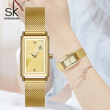 цена Shengke Top Brand Luxury Women Watch Stainless Steel Lady Crystal Rectangle Waterproof Dial Quartz Wrist Watch Reloj Mujer SK онлайн в 2017 году