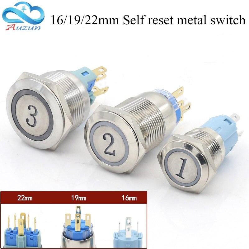 Metal button switch 16MM19MM22MM reset button switch instantaneous digital 1.2.3.A.B.C e ...