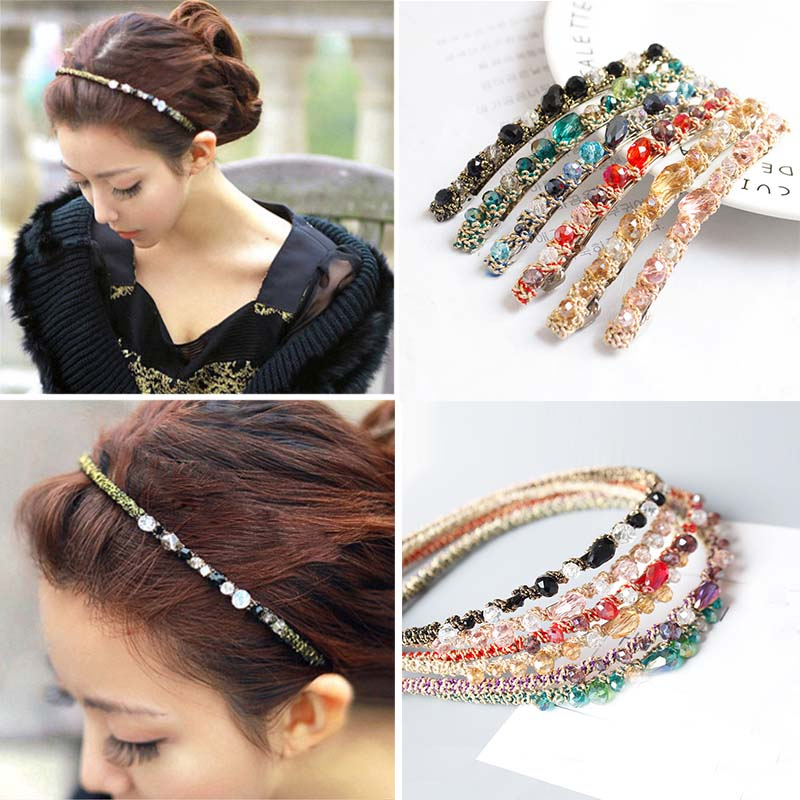 1PC New Multicolor Hairpin Hair Bands Alloy Crystal Gold Wire Winding Hit Color Super Flash Fashion Jewelry