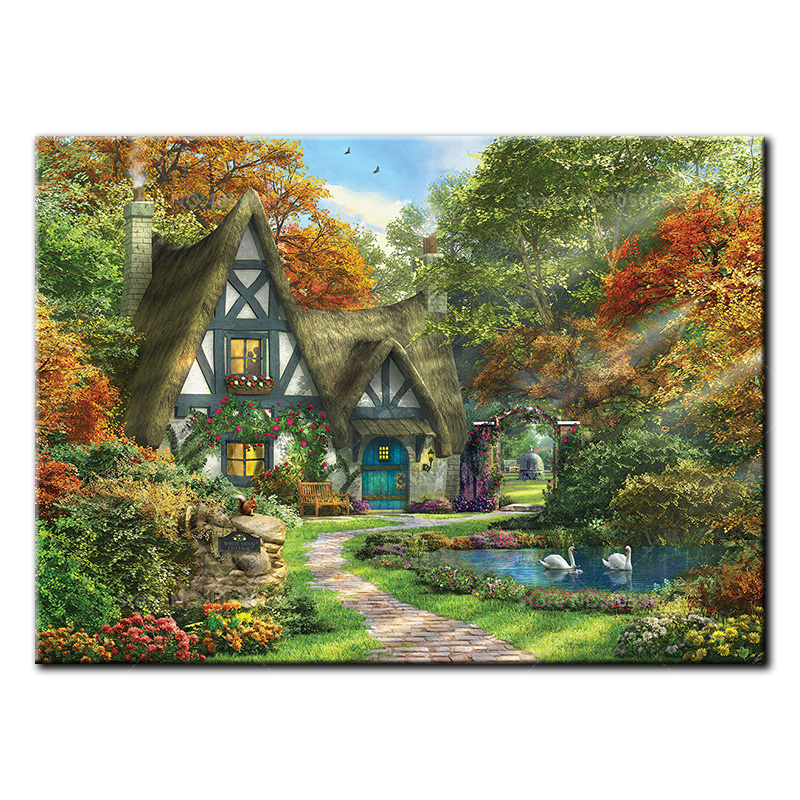 5D DIY diamond Painting full square drill embroidery White Swan Cottage Diamond Mosaic Cross Stitch Home Decor Gift B1209