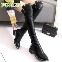2018 Fashion PU Leather Over Knee Boots Women Sequined Toe Elastic Stretch Thick  Heel Thigh High 369055f215ae