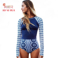 AONIHUA 2018 Slim Sport Rash Guards One Piece Surfing Swimsuits Women Long Sleeve Push Up Swimwear