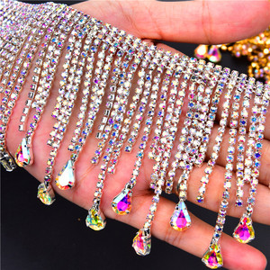 Image 2 - Bling 50 cm/lot rhinestone dance gold AB crystal cadena cortina de borlas decoración para coser en prendas strass banding collar trim