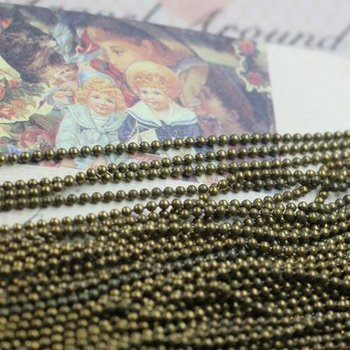 Free shipping!!!! 100m/lot 1.5mm ball bronze tone jewelry chain findings