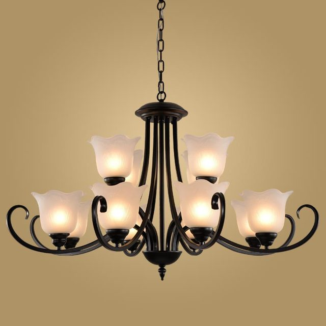 Modern Retro Chandelier for Kitchen Bedroom Hanging Antique Iron Chandelier  American Style BLC9048 - Modern Retro Chandelier For Kitchen Bedroom Hanging Antique Iron Chandelier  American Style BLC9048-in Chandeliers From Lights & Lighting On
