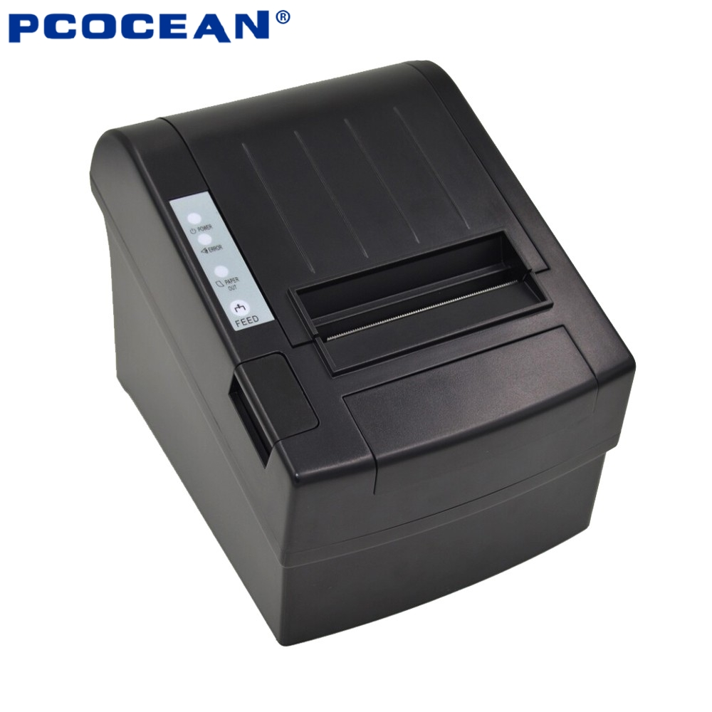 80MM Auto-cutter POS Thermal Receipt Printer Thermal Printing ,USB+Ethernet Thermal Bill Printer For Supermaket Restaurant 300 mm s print speed black 80mm pos thermal receipt printer auto cutter cut windows2000 xp vista 8 10 linux usb ethernet
