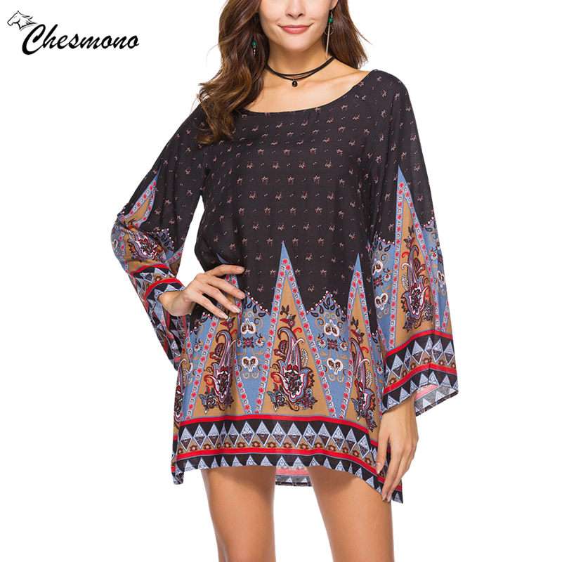Autumn Boho Print T Shirt Dress Women 2018 Bohemian Ethnic Loose Long Sleeve Party Mini Dresses Beach Vestidos Robes