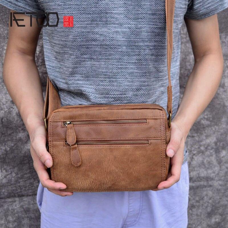 AETOO sacs pour hommes en cuir véritable sacs à bandoulière pour hommes petit sac à bandoulière décontracté à rabat sac à bandoulière pour hommes en cuir véritable
