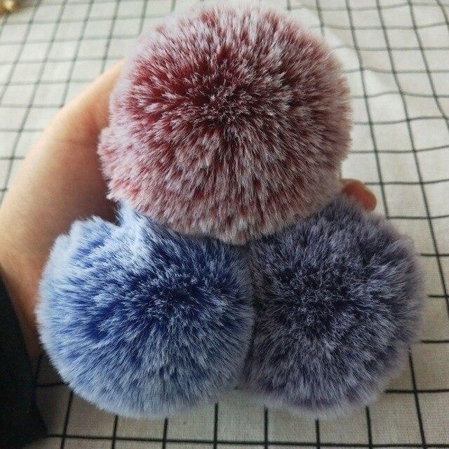 Lông Pompom Kim Loại Nút Đồ Trang Sức Phát Hiện 8 cm Faux Lông Thỏ Pom Pom với Báo Chí Nút Giả Lông Thú Hat Bong Bóng có thể tháo rời Keychain
