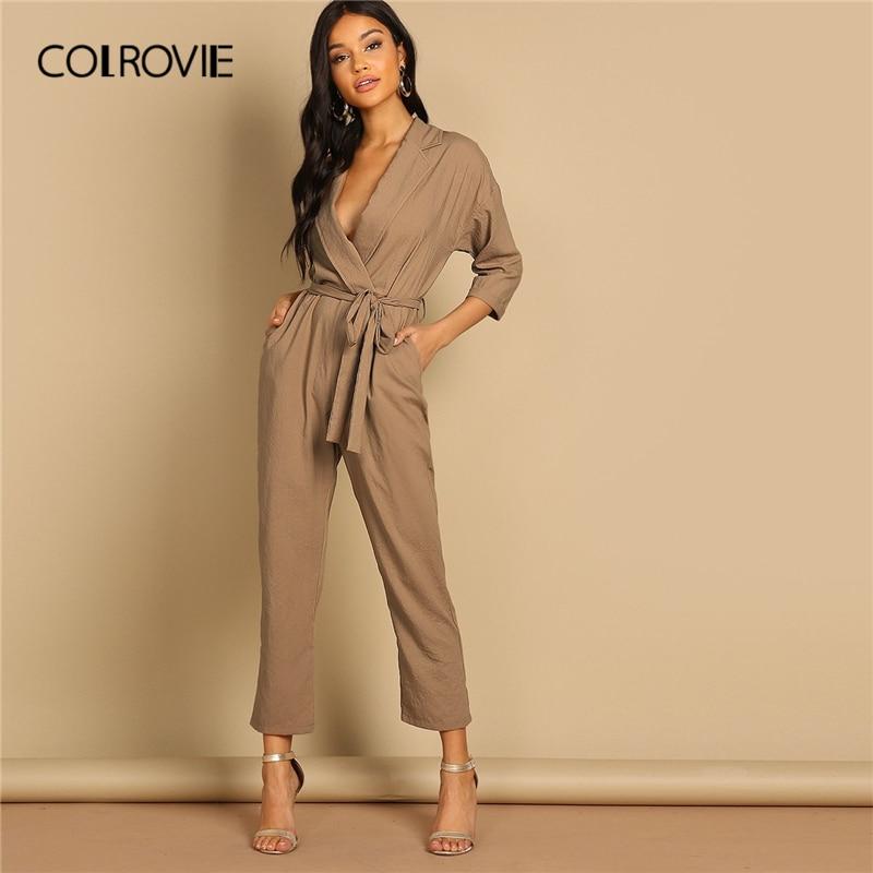 f808d684ebb COLROVIE Camel Slant Pocket Belted Notch Neck Casual Jumpsuit Women 2019  Spring Korean High Waist Wrap