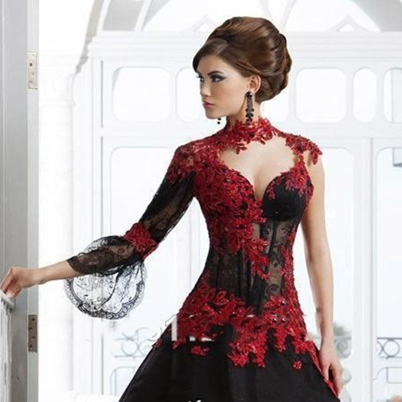 Victorian Gothic Masquerade Wedding Dress High Neck Appliques Lace Beaded Long Sleeve Red And Black Ball Gown Bridal